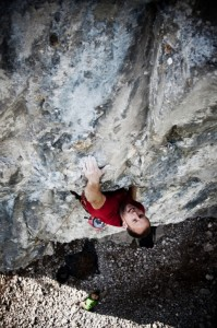Pulling through the roof of the 1st crux