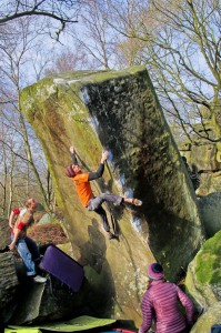 The classic line of Suavito 7b. A must do of the Peak District. Photo Gav Symonds